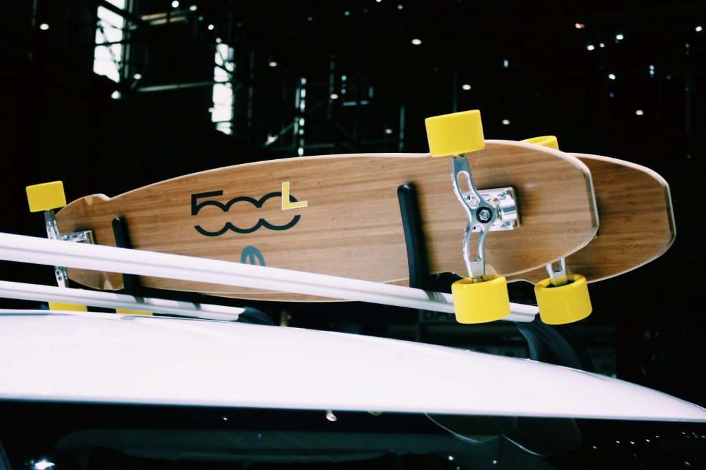 Fiat's 500L Trekking Street Surf (how catchy), featuring plenty of bamboo and matching long boards. All in bright yellow, of course.